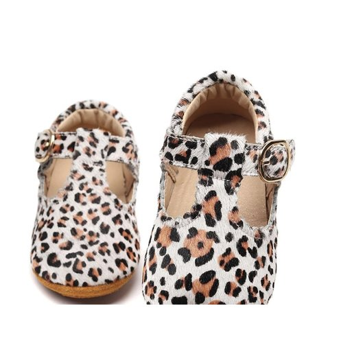 This Cuteness Baby Mocassins Open White Leopard
