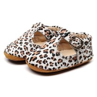 Baby Mocassins Open White Leopard