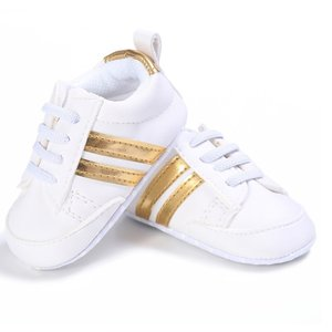 This Cuteness Baby Sneakers White Gold Stripes