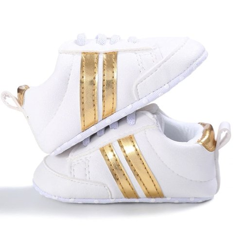 This Cuteness Baby Sneakers Broken White Gold Stripes