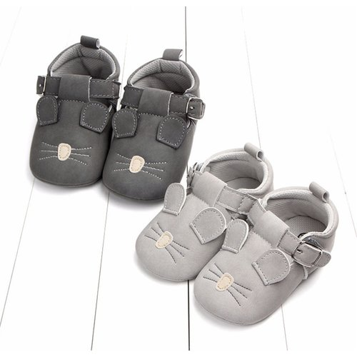 This Cuteness Baby Shoes Leather Grey Mouse