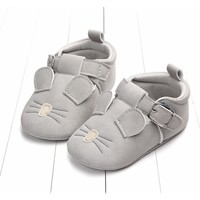 Baby Shoes Leather Grey Mouse