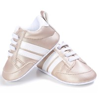 Baby Sneakers Gold White Stripes