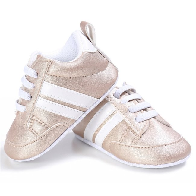 This Cuteness Baby Sneakers Gold White Stripes