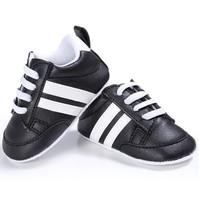 Baby Sneakers Black White Stripes