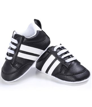 This Cuteness Baby Sneakers Black White Stripes