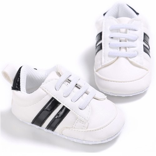 This Cuteness Baby Sneakers White Black Stripes