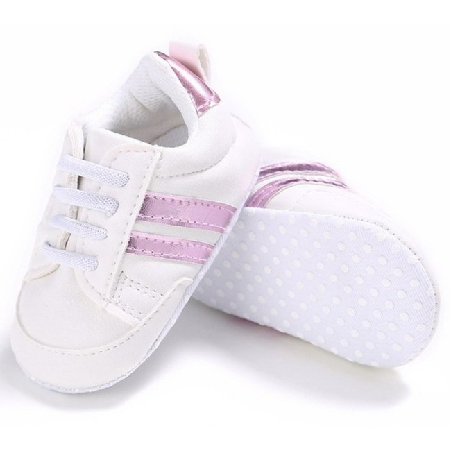 Baby Sneakers White Pink Stripes