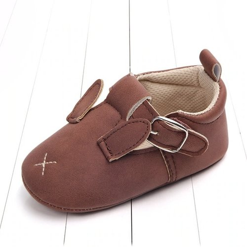 This Cuteness Baby Shoes Leather Bordeaux Bunny