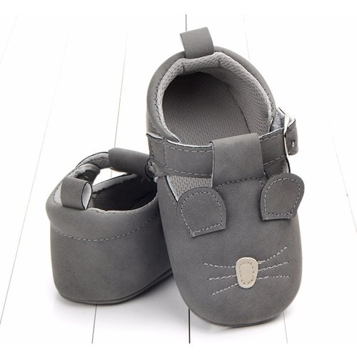 This Cuteness Baby Shoes Leather Dark Grey Mouse
