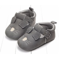 Baby Shoes Leather Dark Grey Mouse