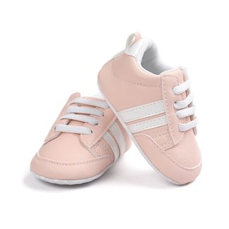 This Cuteness Baby Sneakers Pink White Stripes