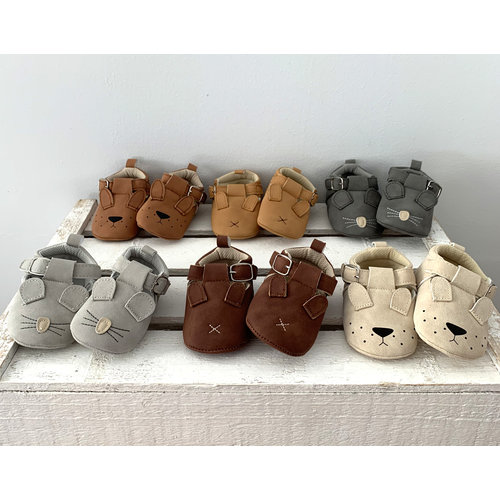 This Cuteness Baby Shoes Leather Beige Doggy