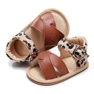 This Cuteness Baby Sandals Leather Brown Leopard