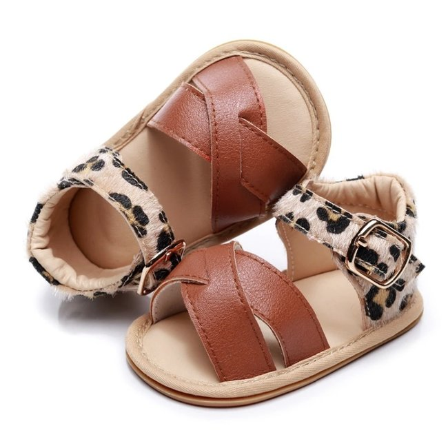 Baby Sandals Leather Brown Leopard