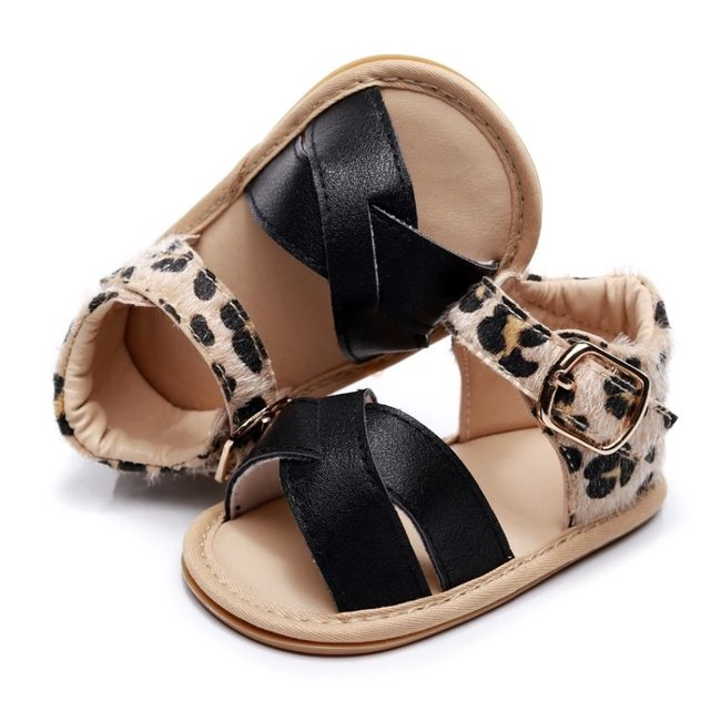 Baby Sandals Leather Black Leopard