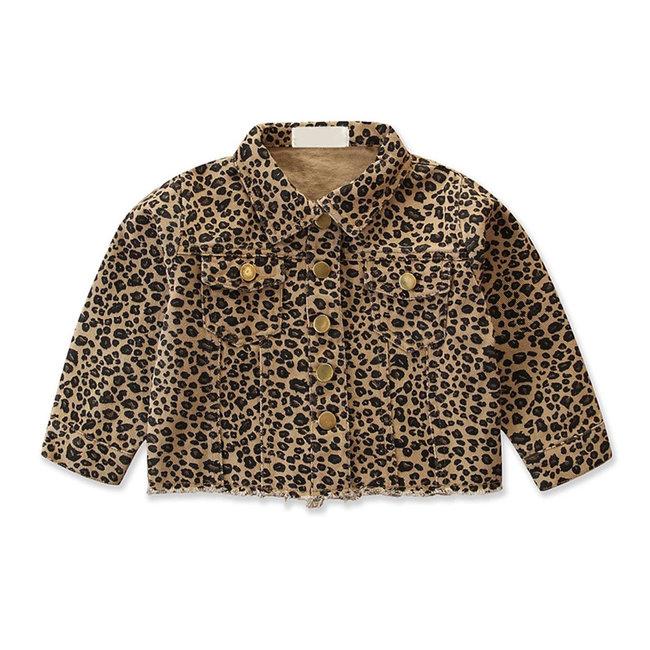 Jacket Denim Beige Leopard