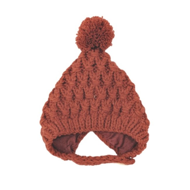 Baby Muts Knitted Wool Old Red