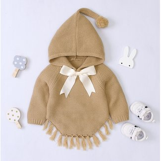 This Cuteness Poncho Knitted Beige