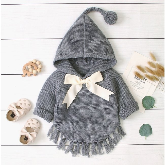 Poncho Knitted Grey
