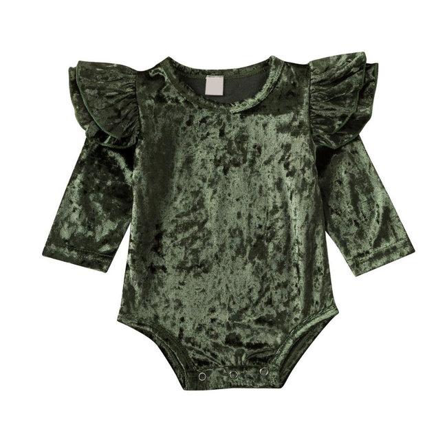 Body Velvet Ruffles Green
