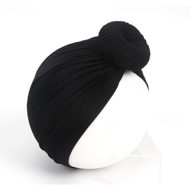 Turban Cotton Donut Black