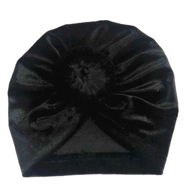 Turban Velvet Donut Black
