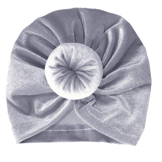Turban Velvet Donut Grey