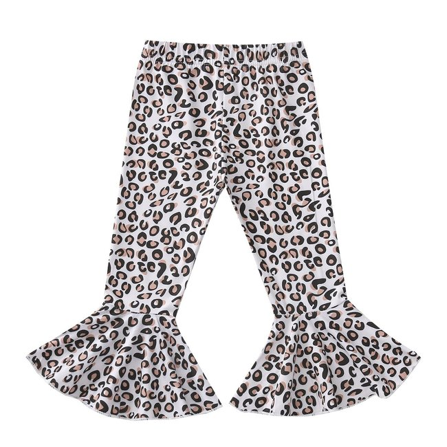 Flared Pants White Leopard