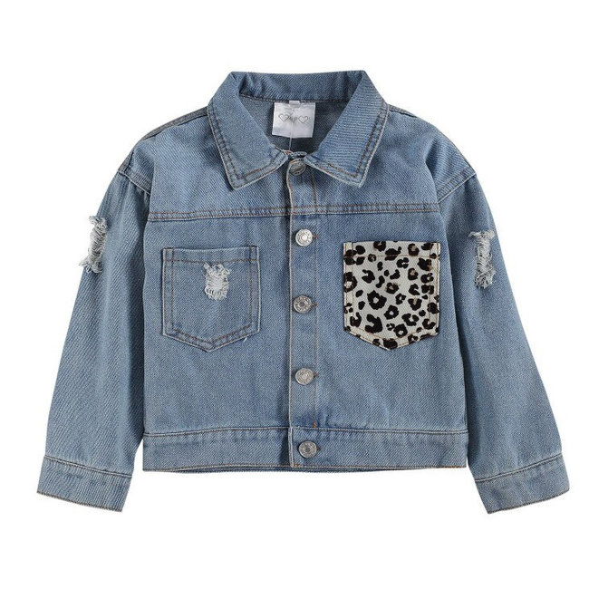 Jacket Denim Leopard Pocket
