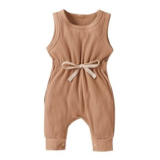 This Cuteness Jumpsuit Ribbed Taupe