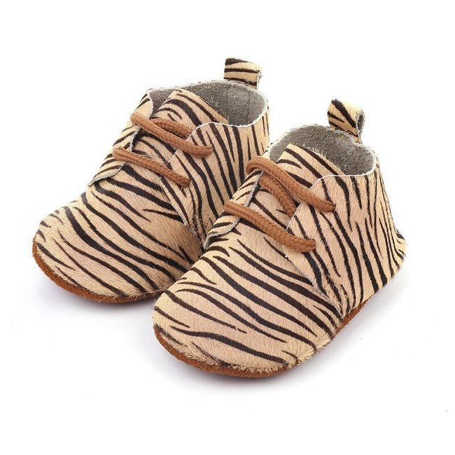 Baby Mocassins Leather Beige Zebra