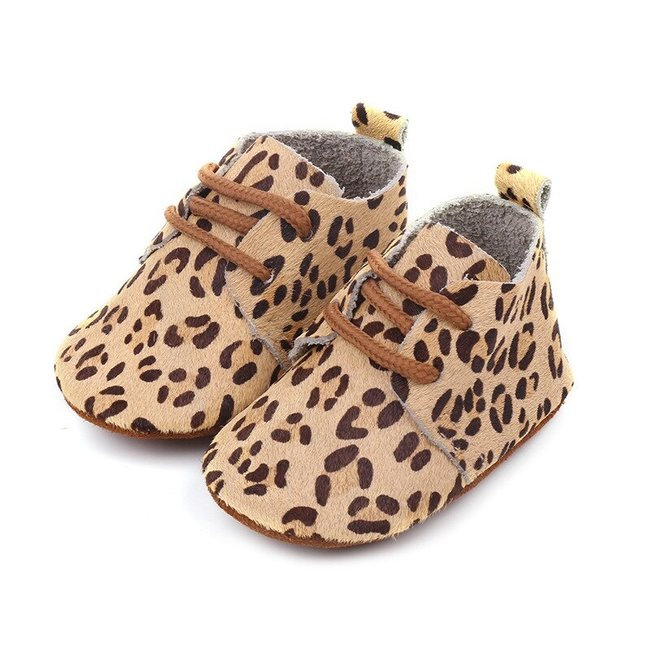 Baby Mocassins Leather Panther
