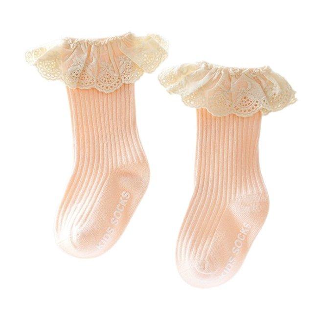Sokjes Ribbed Lace Peachy