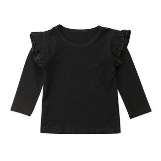 This Cuteness Shirt Longsleeve Ruffle Black