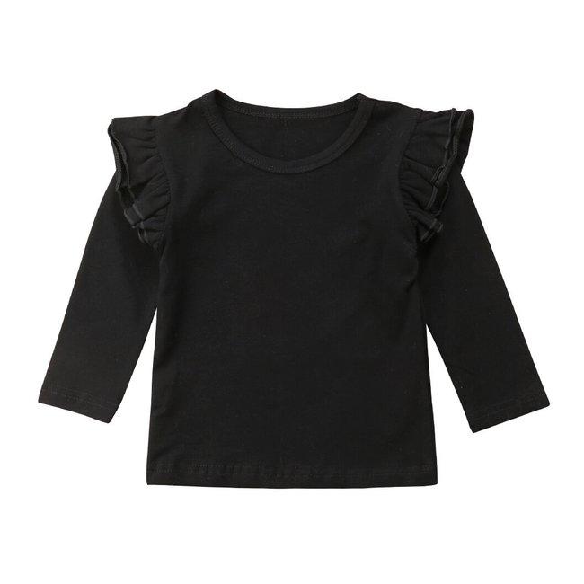 Shirt Longsleeve Ruffle Black