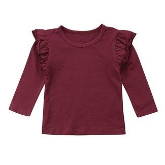 This Cuteness Shirt Longsleeve Ruffle Bordeaux