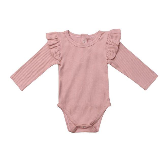 Romper Longsleeve Ruffle Pink