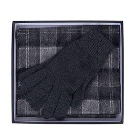 Barbour gift box scarf & gloves grey tartan