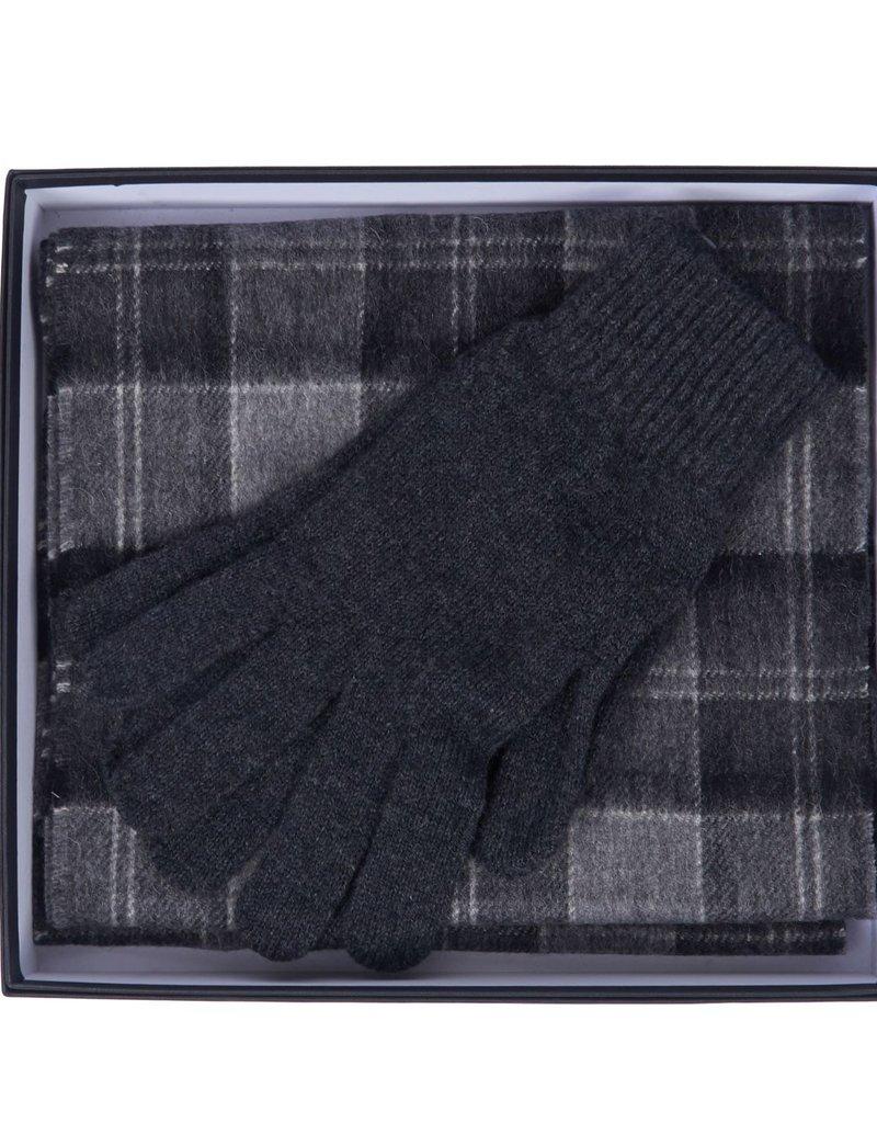 Barbour gift box shawl & handschoenen grijs geruit