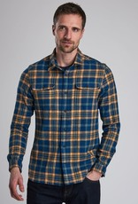 Barbour International flanel shirt Chuck indigo blauw met geel geruit