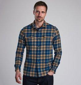 Barbour International flanel shirt Chuck indigo blauw met geel geruit