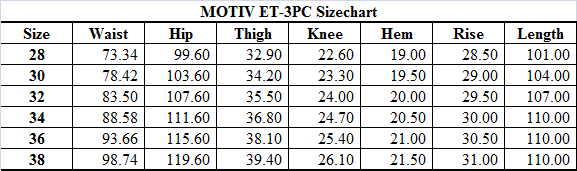 Size guide Hollywood trousers