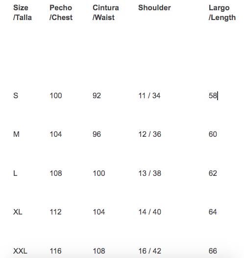 Rozas vest size guide
