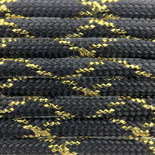 123Paracord Paracord 550 typ III Gold Knight Metallic Glitter Black / Gold Tracer X