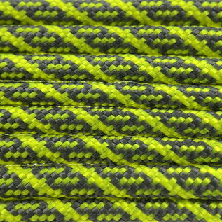 123Paracord Paracord 550 typ III Charcoal Grau / Neon Gelb Helix DNA