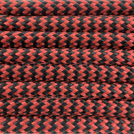 123Paracord Paracord 550 typ III Rot / schwarz Shockwave