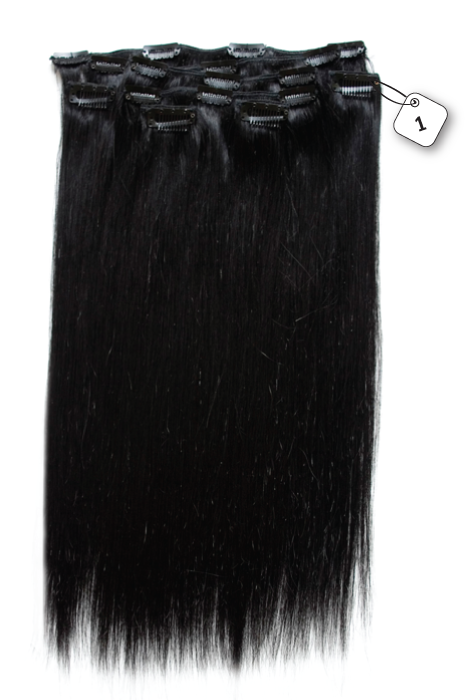 RedFox Clip-in Extensions - Straight - #1 Jetblack