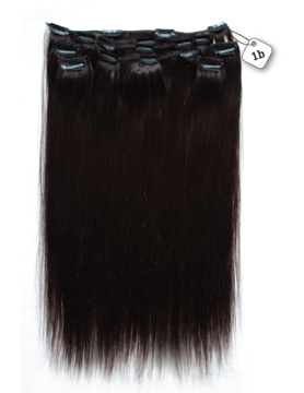 RedFox Clip-in Extensions - Straight - #1b Natural Black