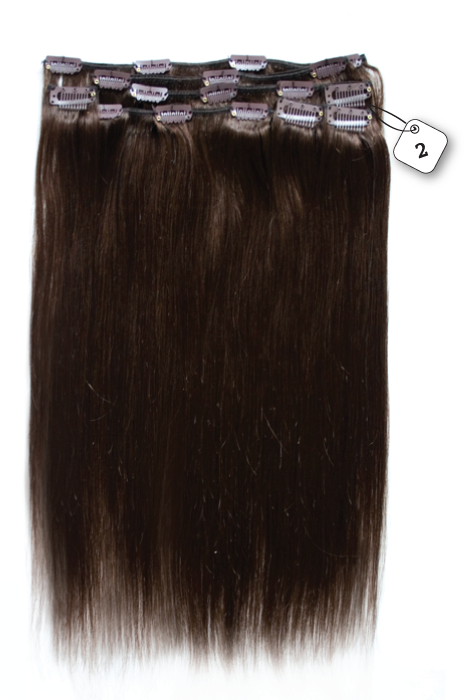 RedFox Clip-in Extensions - Straight - #2 Deep Dark Brown